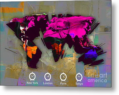 Wold Map Watercolor Metal Print by Marvin Blaine