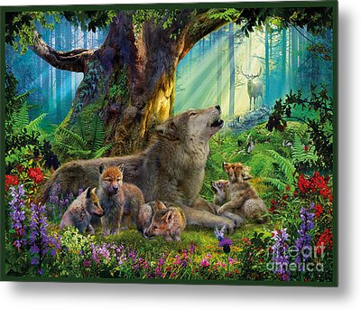 Wolf And Cubs In The Woods Metal Print