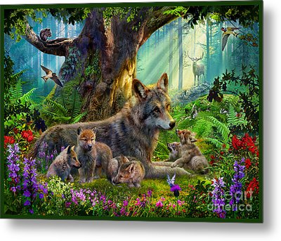 Wolf And Cubs Metal Print