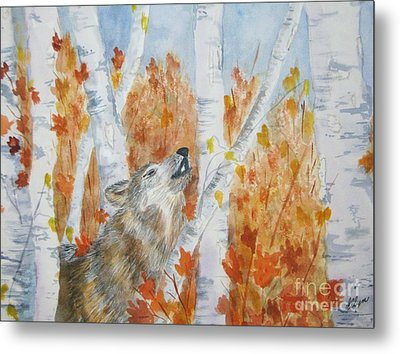 Wolf Call Metal Print by Ellen Levinson