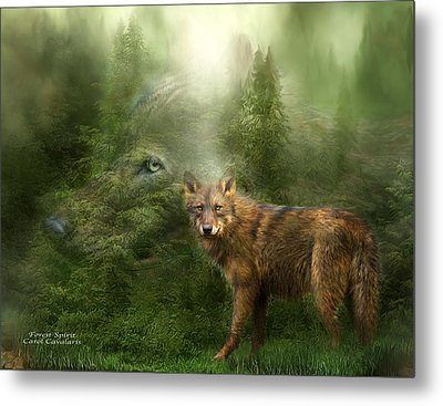 Wolf - Forest Spirit Metal Print by Carol Cavalaris