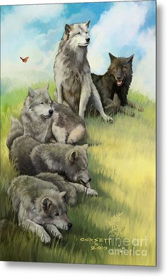 Metal Print featuring the painting Wolf Gathering Lazy by Rob Corsetti
