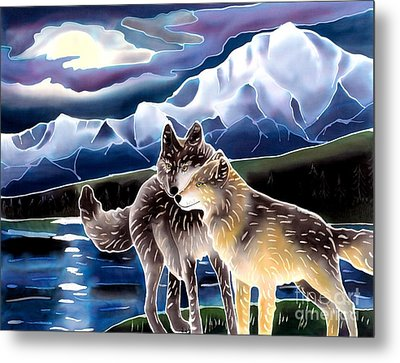 Wolf Greeting Metal Print by Harriet Peck Taylor