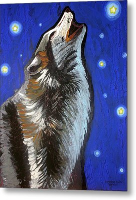 Wolf Howl Metal Print by Genevieve Esson