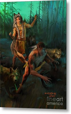 Metal Print featuring the painting Wolf Warriors Change by Rob Corsetti