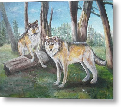Metal Print featuring the painting Wolves In The Forest by Thomas J Herring