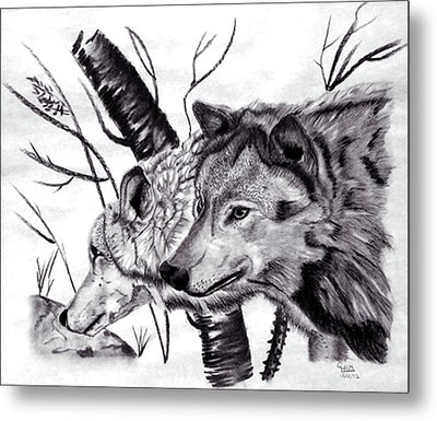 Metal Print featuring the drawing Wolves by Mayhem Mediums