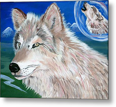 Metal Print featuring the painting Wolves by Phyllis Kaltenbach
