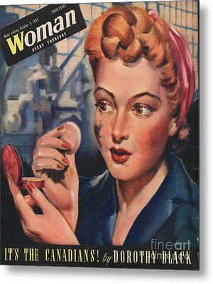 Woman 1943 1940s Uk Women At War Metal Print by The Advertising Archives