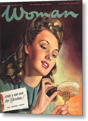 Woman 1945 1940s Uk People Eating Metal Print by The Advertising Archives