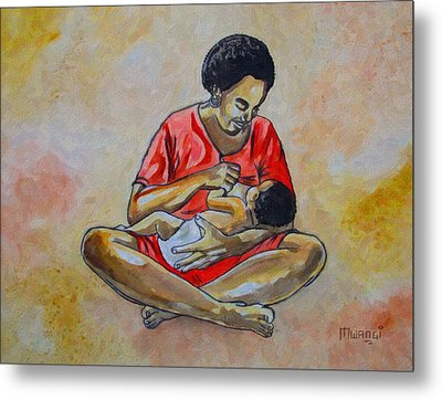 Metal Print featuring the drawing Woman And Child by Anthony Mwangi