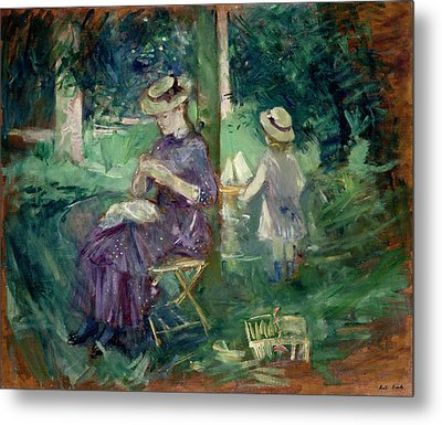 Woman And Child In A Garden Metal Print