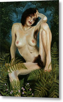 Woman And Ferns Metal Print by Jo King