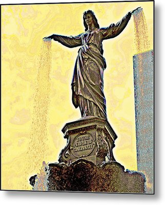 Woman And Flowing Water Sculpture At Fountain Square Metal Print