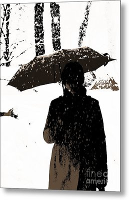 Woman And Rain Metal Print by Yury Bashkin