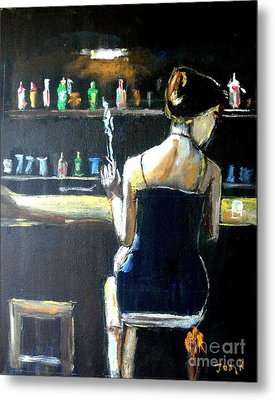 Woman At The Bar Metal Print