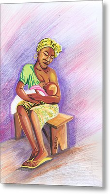 Woman Breastfeeding Bay In Rwanda Metal Print by Emmanuel Baliyanga