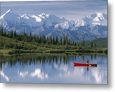 Woman Canoeing In Wonder Lake Alaska Metal Print by Michael DeYoung
