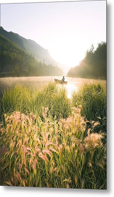 Woman Canoeing On Long Lake In Early Metal Print by Michael DeYoung