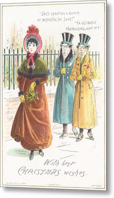 Woman Carrying Bunch Of Mistletoe Metal Print by English School