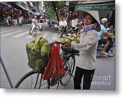 Woman Carrying Fruit On Bike Metal Print by Sami Sarkis