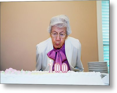 Woman Celebrating Her 100th Birthday Metal Print by Jim West