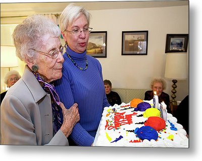 Woman Celebrating Her 95th Birthday Metal Print by Jim West