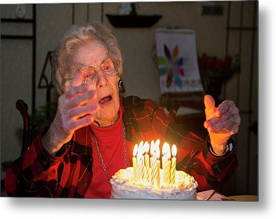 Woman Celebrating Her 99th Birthday Metal Print by Jim West