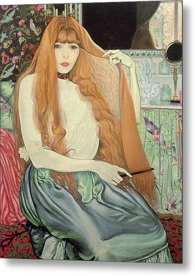 Woman Combing Her Hair Metal Print by Louis Anquetin