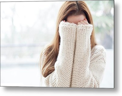 Woman Covering Face Metal Print by Ian Hooton