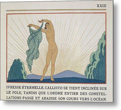 Woman Dancing Metal Print by Georges Barbier