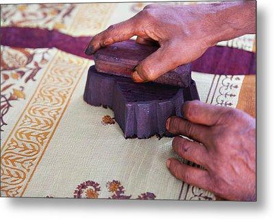 Woman Doing Block Print On Fabric Metal Print
