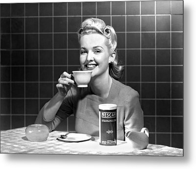 Woman Drinking Nescafe Metal Print by Underwood Archives
