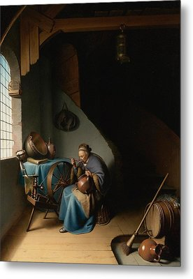 Woman Eating Porridge Metal Print by Gerard Dou