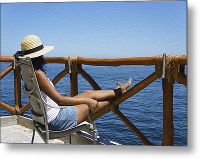 Woman Enjoying The View  Metal Print