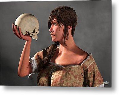 Woman Examining A Skull. Metal Print