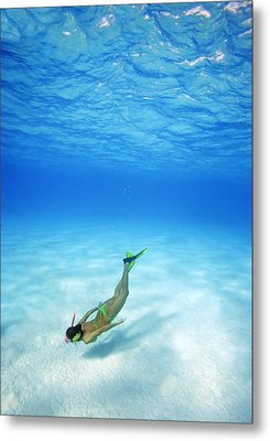 Woman Free Diving Metal Print by M Swiet Productions