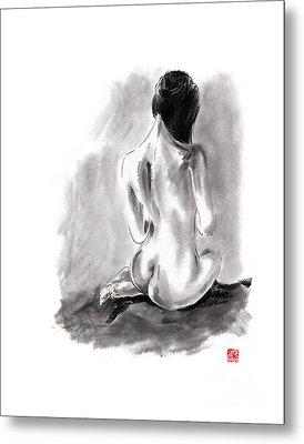 Woman Geisha Erotic Act Beautiful Girl  Japanese Ink Painti Metal Print by Mariusz Szmerdt