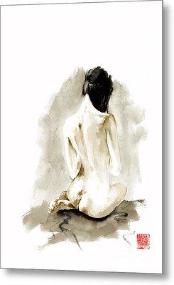 Woman Geisha Erotic Act Japanese Ink Painting Metal Print by Mariusz Szmerdt