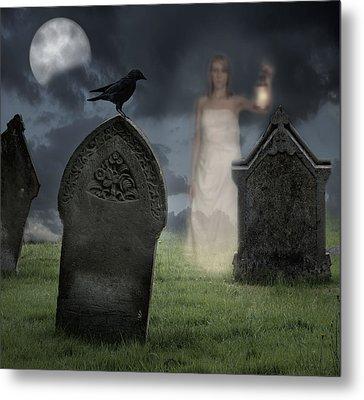Woman Haunting Cemetery Metal Print by Amanda Elwell