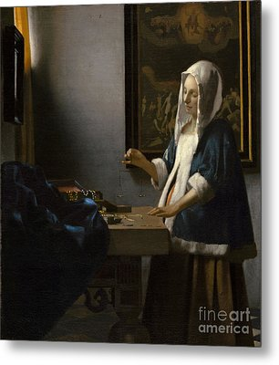 Woman Holding A Balance Metal Print by Celestial Images