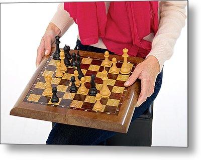 Woman Holding Chess Board Metal Print