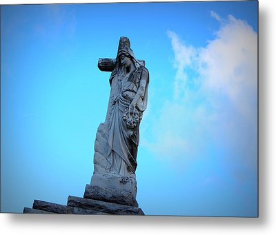 Woman Holding Cross Metal Print by Beth Vincent