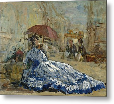 Woman In A Blue Dress Under A Parasol Metal Print