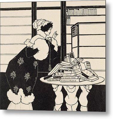 Woman In A Bookshop Metal Print by Aubrey Beardsley