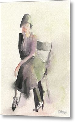 Woman In A Cloche Hat Watercolor Fashion Illustration Art Print Metal Print by Beverly Brown