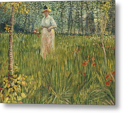Woman In A Garden Metal Print