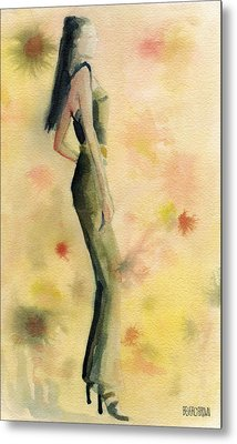 Woman In A Green Jumpsuit Fashion Illustration Art Print Metal Print by Beverly Brown