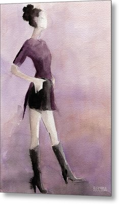 Woman In A Plum Colored Shirt Fashion Illustration Art Print Metal Print by Beverly Brown