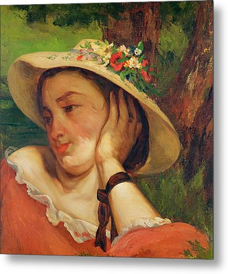 Woman In A Straw Hat With Flowers Metal Print by Gustave Courbet